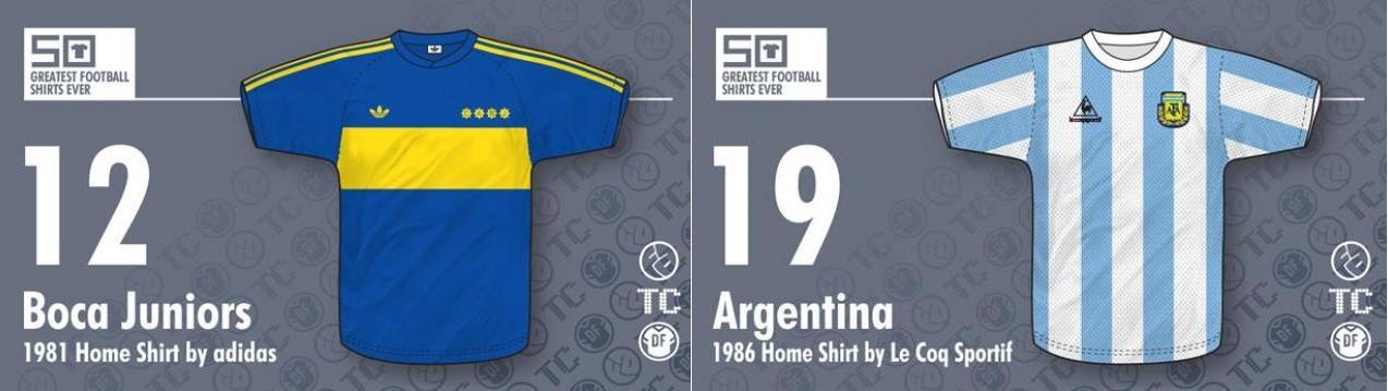 8e390d908 Las camisetas argentinas dentro del top 20  Boca 1991 y Argentina 1986